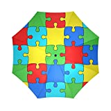 BestカラフルAutism Awareness Puzzle Jigsawパターン折りたたみ雨傘パラソル太陽傘防風旅行コンパクト
