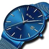 メンズ腕時計ブルー ステンレススチール防水時計シンプルデザイン