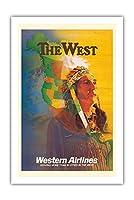 西 - アメリカンインディアンチーフ - ウェスタン航空 - ビンテージな航空会社のポスター によって作成された E・カール・レイク c.1950s - プレミアム290gsmジークレーアートプリント - 61cm x 91cm