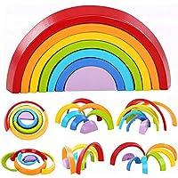 レインボースタッカー 7ピース 木製ベビーおもちゃ 積み重ねゲーム 幾何学模様のカラフルな組み立てブロック 想像力とコーディネーションの向上 幼児の学習教育玩具パズル