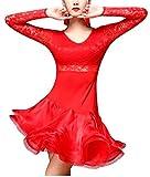 (オーセンティック) AUTHENTIC レディース ダンス ドレス レース タイト ゴージャス 長袖 ラテン 社交ダンス (2XL, レッド)