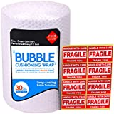 """Bubble Cushioning Wrap Roll for Packing (3/16"""", 12"""" x 32 ft), Easy-to-Tear 12"""" Sheets, Plus Free 8 'Fragiile, Handle with Care' Stickers"""