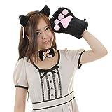 A-stylewear 萌えねこアイテム4点セット ・耳カチューシャ・首輪・もこふわ肉球・しっぽ (黒猫)