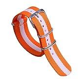 20ミリメートルオレンジ/白カラフルな通気性の女性のワンピースNATOスタイルのナイロン時計バンドストラップ