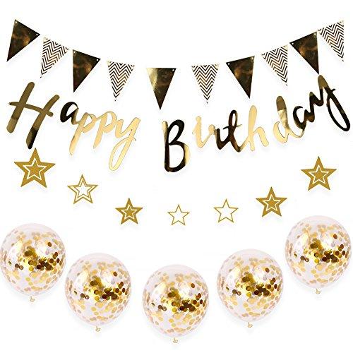 RoomClip商品情報 - 誕生日 飾り付け セット 風船 バースデー ガーランド デコレーション HAPPY BIRTHDAY きらきら風船 ゴールド