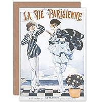 La Vie Parisienne End of Season Couple Magazine Cover Sealed Greeting Card Plus Envelope Blank inside パリ 雑誌の表紙 カバー