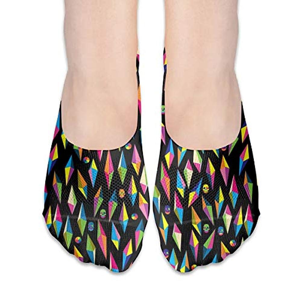 地獄導出踏み台多彩な幾何学的な頭蓋骨のショーの靴下の女性のボートの靴のローファーの靴下、滑り止めのグリップ
