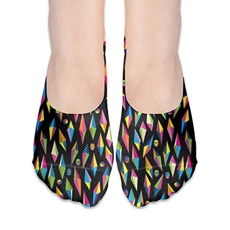 はっきりと災害遅れ多彩な幾何学的な頭蓋骨のショーの靴下の女性のボートの靴のローファーの靴下、滑り止めのグリップ