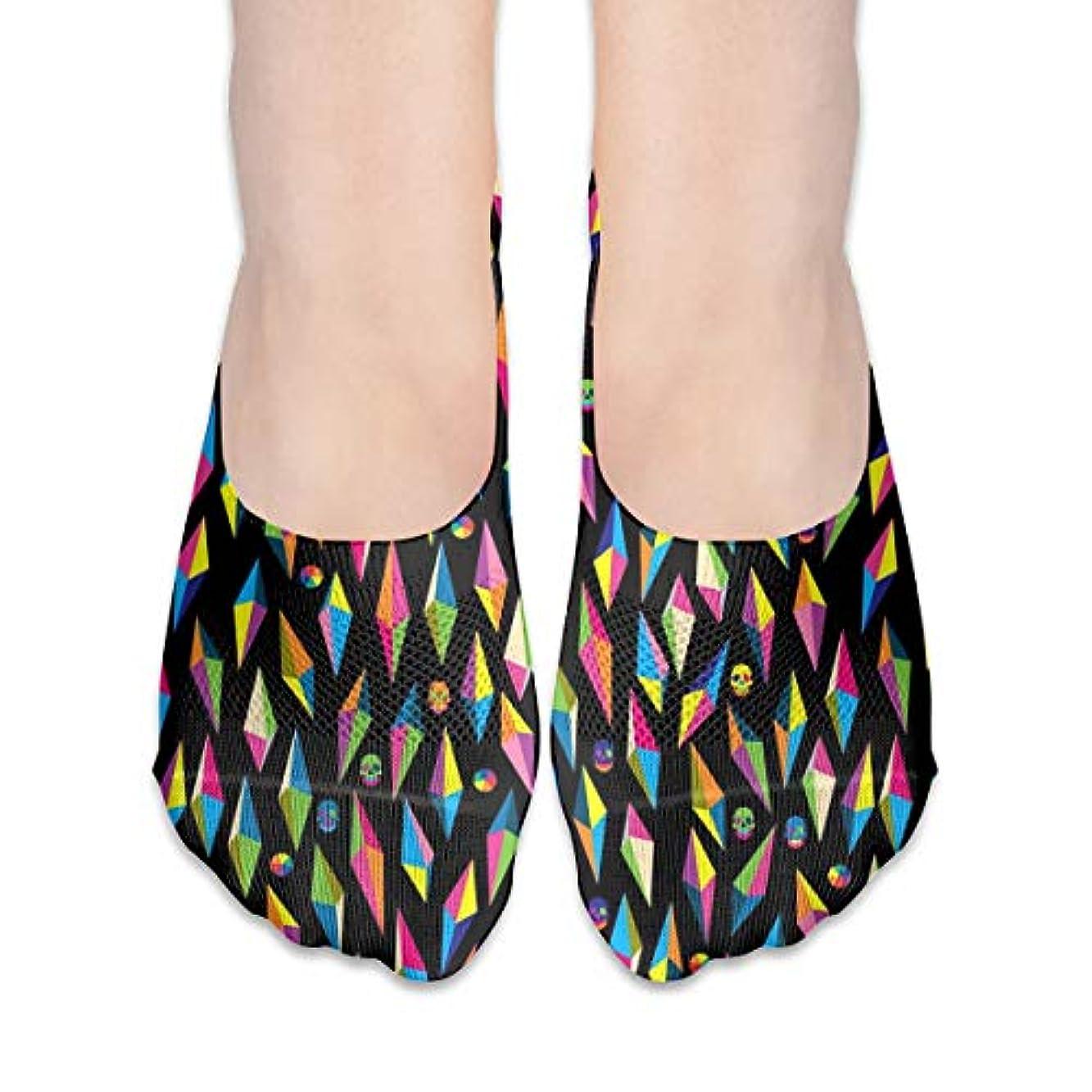 フォアマン実行可能着実に多彩な幾何学的な頭蓋骨のショーの靴下の女性のボートの靴のローファーの靴下、滑り止めのグリップ