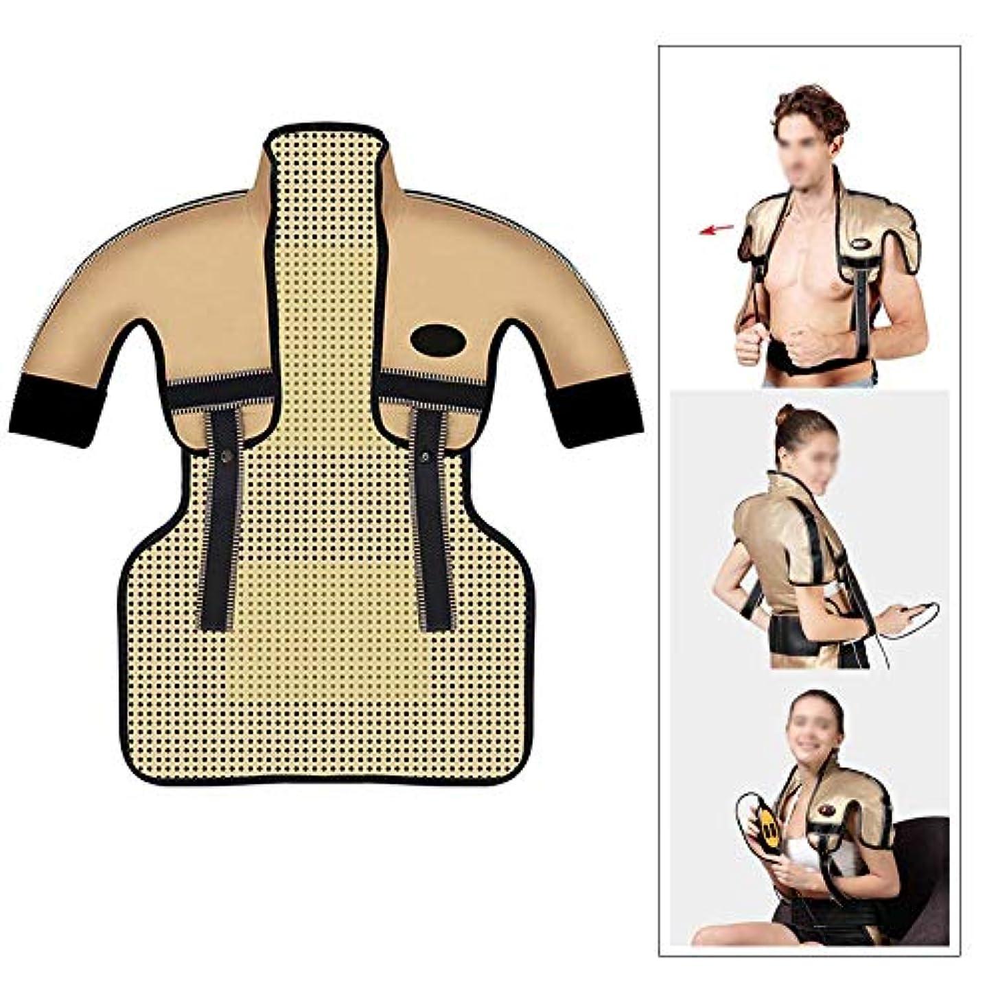 寝るチロ与える肩と首の電気加熱パッド - 混練加熱、痛みを和らげるヒートパッド、医療用品マッサージベスト(肩幅用:35-50CM)