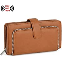 UTO Women PU Leather Wallet RFID Blocking Large Capacity 15 Card Slots Smartphone Holder Snap Closure A