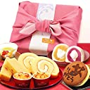 父の日 プレゼント 人気スイーツギフトセット 竹籠入り風呂敷包 (ピンク色風呂敷)