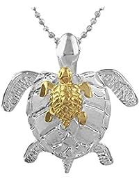 [ハワイアン シルバー ジュエリー] Hawaiian Silver Jewelry ホヌ (亀) の親子 ネックレス イエローゴールド トーン シルバー925 [インポート]