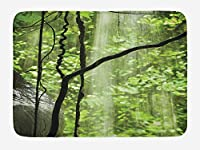 Rainforest Bath Mat, Jungle View with Waterfall Rocks and Trees Natural Beauty in Wild Atmosphere, Plush Bathroom Decor Mat with Non Slip Backing, 23.6 L X 15.7 W Inches, Green Brown
