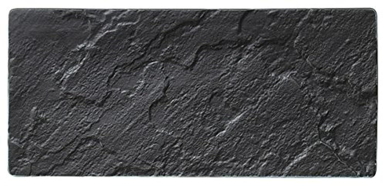 【長角皿】メテオ 黒30cmレクタングルプレート オードブル 皿 日本製