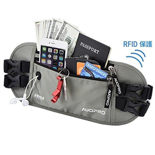 AUOPRO ランニングポーチ 防水 バッグ スポーツ用ウエストバッグ RFID防止 軽量 ウォーキング ジョギング 登山 遠足 サイクリング ランニング 釣り 旅行 レジャー等対応 収納伸縮可能 (グレー)