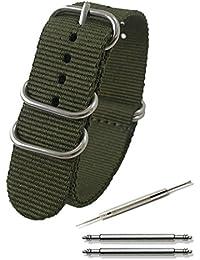 Calme(カルム)NATO ベルト 腕時計 バンド プレミアムBallisticナイロン 16㎜ 18㎜ 20㎜ 22㎜ 24㎜ 5色 (16㎜, アーミーグリーン)