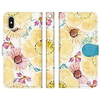 ベルトなし iPhoneXS iPhoneX 手帳型 ケース カバー ボタニカル柄 B NoA 花柄 花 flower イラスト デザイナーズ