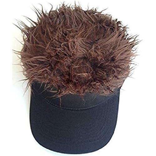 男性 用 カツラ サンバイザー 帽子 ヘア カラー ハゲ スキンヘッド ゴルフ スポーツ どっきり パーティー ジョーク グッズ おもしろ ( ダークブラウン )
