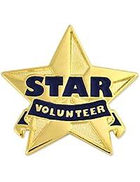 PinmartのゴールドとブルーStarボランティアエナメルラペルピン 25