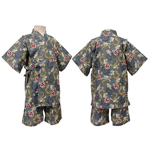 ボーイズジュニア浴衣|甚平[遊々着]ジュニア甚平|甚平上下セット|龍柄|和柄|綿100%|男の子|男児|ボーイズ 160cm グレー