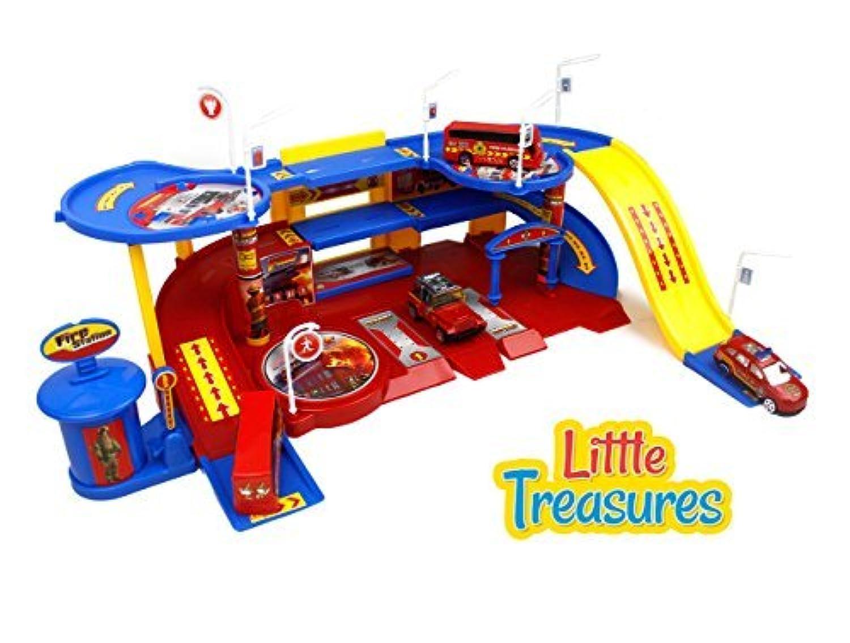 Little Treasures Toy Fire Station Command Emergency Vehicle Unit Set [並行輸入品]