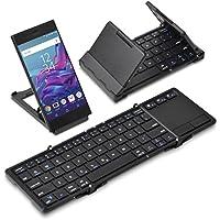 [タッチパッド搭載] 折りたたみ式 Bluetoothキーボード Bookey touch(ブラック)・Android・Windows10・iOS iPhone&iPad・Mac対応・ワイヤレス コンパクト・技適取得済み・半角/全角キー付・日本語説明書付