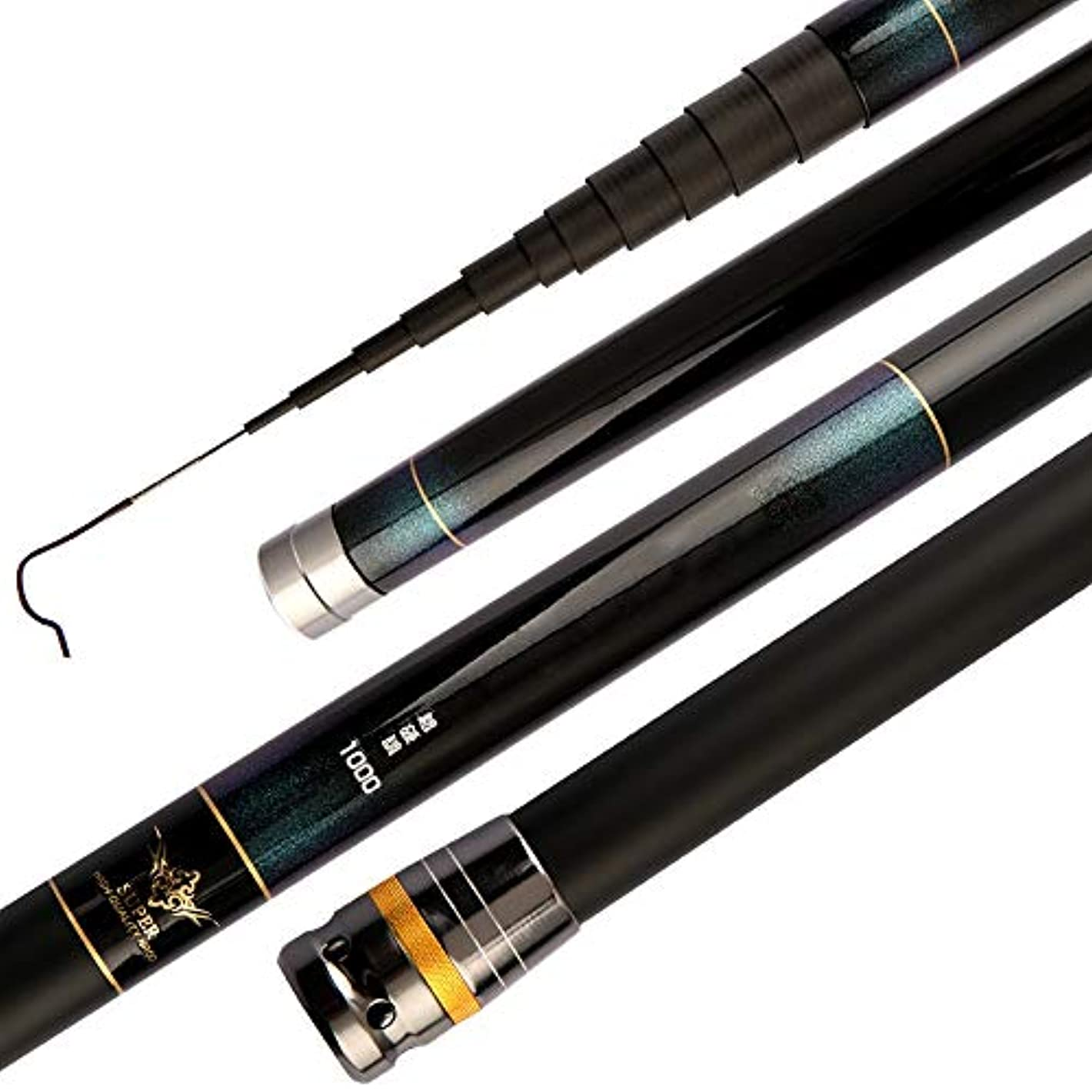 カウボーイ必要性コークスBTXXYJP 釣りロッド 軽量 初心者 釣り 釣り竿 伸縮可能 フィッシングロッド 操作簡単 (Color : ブラック, Size : 9m)