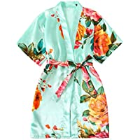 Children's Nightgown Girls Satin Dressing Gown Silk Kimono Robes Bathrobes Sleepwear Dressing Gown Night Lounge Wear Age 5 6 7 8 9 10 11 12 13 14 Years (Color : Green, Size : 12)