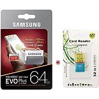 Samsung microSDXCカード 64GB EVO Plus Class10 UHS-I U3対応 (最大読出速度100MB/s:最大書込速度60MB/s) Nintendo Switch 動作確認済およびUSB 2.0マイクロSDリーダー, ポーチプレゼン[並行輸入品] [並行輸入品]