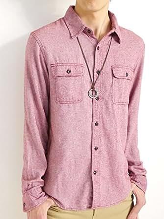 (オークランド) Oakland 起毛 フランネルシャツ シャツ 暖かい ボタンダウン オータム ウィンター 着回し モード 秋 冬 メンズ ワイン Mサイズ