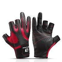ACHICOO 釣り手袋 グローブ 3つの切られた指 滑り止め 耐久力 快適 サイクリング 釣り用具 屋外 赤L