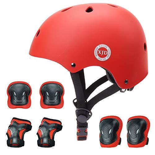 XJD 自転車 ヘルメット こども用 キッズプロテクターセット 調節可能 超軽量 高剛性 通気性 自転車 サイクリング 保護用 巾着袋付き (レッド, S:48~54cm)