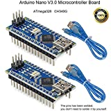 Pinbotronix 2個 Nano V3.0 ATmega328P Microコントローラボード NanoボードCH340Gチップ5V 16MHz 245mm USBケーブル Arduino Nano V3.0対応Arduino用