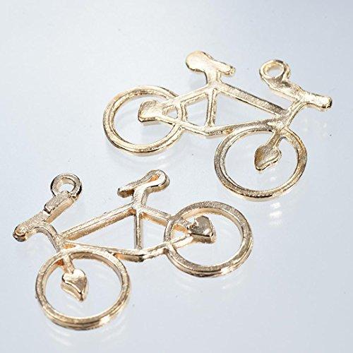 【クラフトパーツのチェロ AA5.3.3 】 自転車 チャーム 3個セット 長さ 30.1mmピンクゴールド カラー