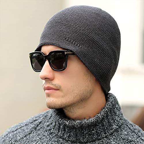 スポーツ&日常着のためのメンズダブル帽子ニット帽、厚い冬の暖...
