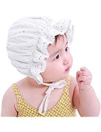 ベビー 帽子 ハット 赤ちゃん用 可愛い レース 春夏 キャップ UVカット キッズ お出かけ用帽子 アウトドア 紫外線対策 日よけ帽子 おしゃれ 通気性 涼しい 48cm サイズ調整可能 3ヶ月から3歳 出産祝いプレゼント