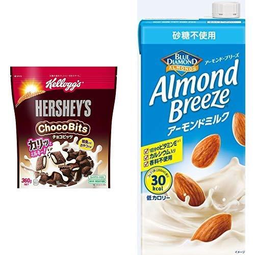 【セット買い】ケロッグ ハーシーチョコビッツ袋 360gx6袋 + アーモンド・ブリーズ 砂糖不使用 1L×6本