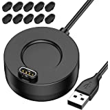 QIBOX Charger Compatible with Garmin Vivoactive 3, USB Charger Dock Cable Stand Station Date Syn with 10-Pack Dust Plugs Comp