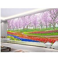 Wuyyii 3D壁紙カスタム壁画不織3D空間の壁紙アキュラの花と森の美しい壁画写真3D壁の壁画壁紙