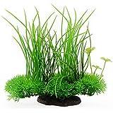 "Saim Plastic Artificial Aquarium Long Leaf Plant Decor Fish Tank Ornament Green Yellow 7.9"" Height 1 Pcs"