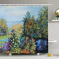 シャワーカーテン博物館アルゼンチン夏の自然のモネアーティスト湿原の茂みキャンバスクリフデザイン展防水ポリエステル生地バスルームカーテンセットフック付き 180X180 CM