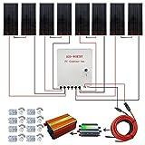 ECO-WORTHY 800W ソーラーパネルキット: 8個 100W ソーラーパネル + ソーラーケーブル +45A PWM チャージャーコントローラー +3KW 24V-110V オフグリッド正弦