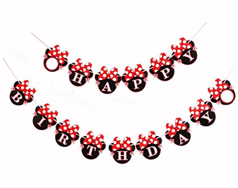 Kristin Paradise 赤のミニーバースデーバナー マウススタイルパーティーデコレーション パーティー用品 ベビーシャワー 女の子用