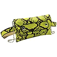 Snakeskin Leather Fanny Pack Crossbody Shoulder Bag Small Clutch Purse Evening Handbag with Removable Strap for Women Girls