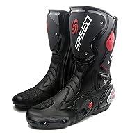 レーシングブーツ バイク用ブーツ レーシングブーツ 強化防衛靴 メンズオートバイ靴 ライディングシューズ ブラック AC1201-2 (ブラック, 25.5cm)