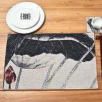 中国風レトロブルーフラワーストライプ西洋ミールマット絶縁マットカップマットテーブルマットパッドティーマット 28 x 44cm E