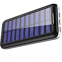 KEDRON モバイルバッテリー 25000mAh ソーラーチャージャー 超大容量【Micro&Lighting デュアル入力ポート / 3台同時充電】太陽光で充電でき iPhone / iPad / Android各種対応 (黑)