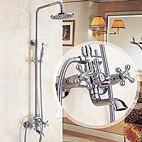 Peacefre ヨーロッパスタイルのシャワーセットすべての青銅は、シャワーを浴びるデバイス浴室の暑いと冷たい蛇口は、シャワーデバイスを取る