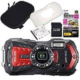 【セット】 リコー 【デジカメ】 WG-60 レッド (カメラポーチ&SD32GB&保護フィルム&予備バッテリー&ジャケット)
